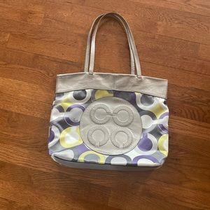 Coach Julia Op Art Sateen Hand bag .